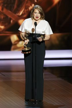 LOS ANGELES, CA - SEPTEMBER 22:  Winner for Best Supporting Actress in a Comedy Series Merritt Wever speaks onstage during the 65th Annual Primetime Emmy Awards held at Nokia