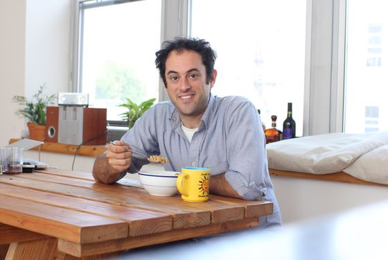 Sussman, at home, with cereal.