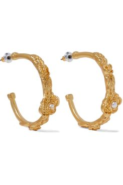 Kenneth Jay Lane 22-karat Gold-Plated Faux Pearl Hoop Earrings