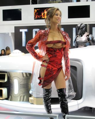 One of the most memorable characters in the 1990 'Total Recall' movie was the three-breasted hooker. Kaitlyn Leeb, who is playing the character in the 2012 remake, posed in a very revealing dress at Comic-Con International in San Diego, California, on July 13, 2012.