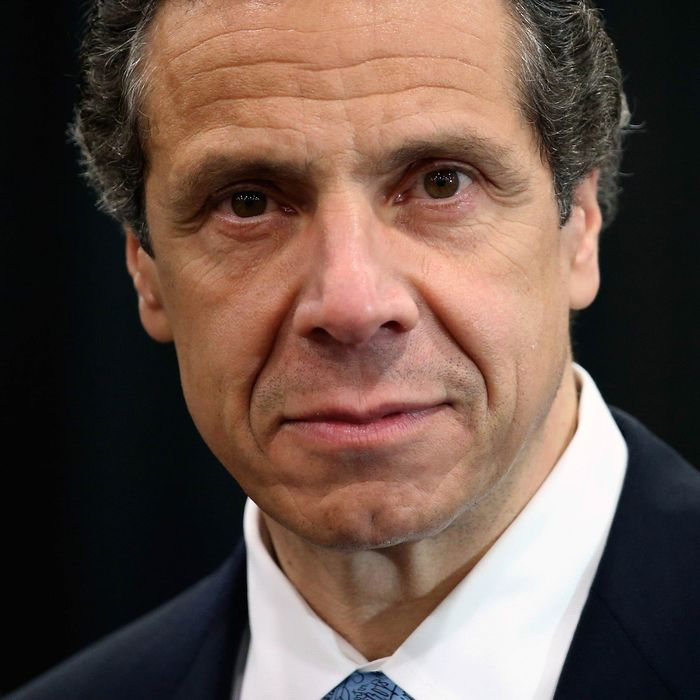 New York Governor Andrew Cuomo addresses the media while announcing a new bill with tougher penalties for texting while driving at a press conference at the Javits convention center on May 31, 2013 in New York City.