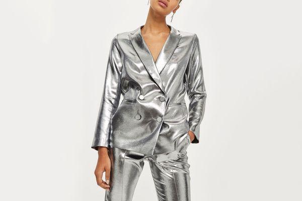 Topshop Metallic Blazer