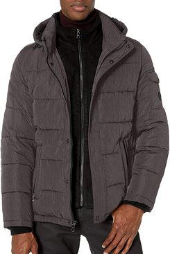Calvin Klein Men's Hooded Alternative Down Puffer Jacket with Fleece Bib, Charcoal