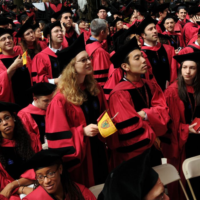 Harvard University students attend commencement ceremonies