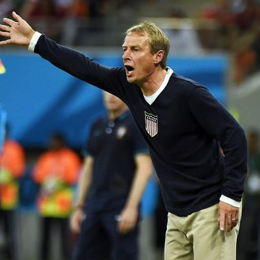 US German coach Juergen Klinsmann reacts during a Group G football match between USA and Portugal at the Amazonia Arena in Manaus during the 2014 FIFA World Cup on June 22, 2014.
