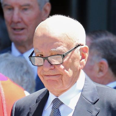 Rupert Murdoch leaves after attending the Dame Elisabeth Murdoch public memorial at St Paul's Cathedral on December 18, 2012 in Melbourne, Australia. Dame Murdoch passed away on December 5th, aged 103.