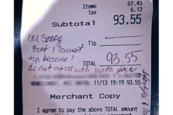The receipt in question.