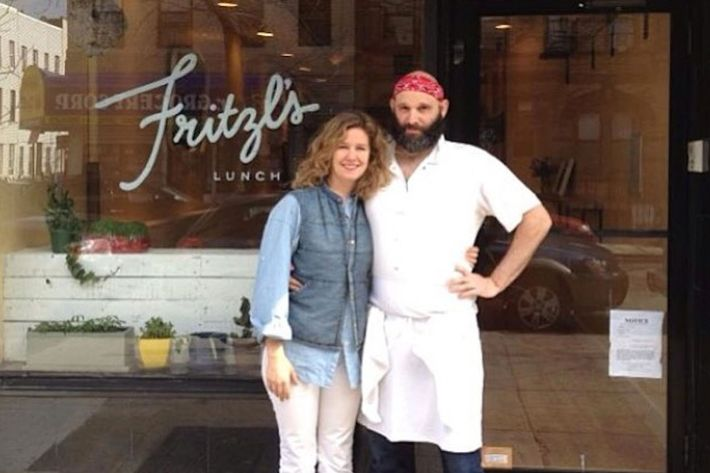 Dan Ross-Leutwyler and his wife outside Fritzl's.