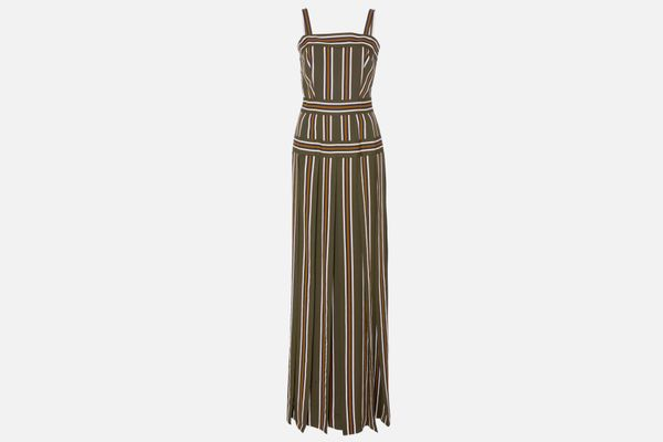 Martin Grant Pleated Stripe Long Dress