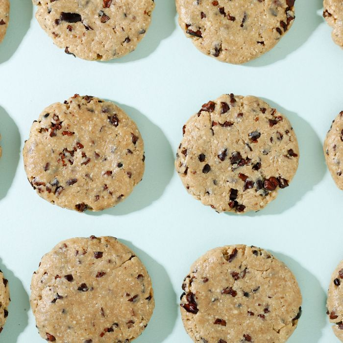 The raw chocolate-chip cookies.