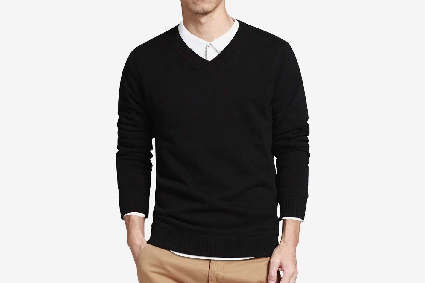 LTIFONE Mens Slim Comfortably Knitted Long Sleeve V-Neck Sweaters 47b868e79