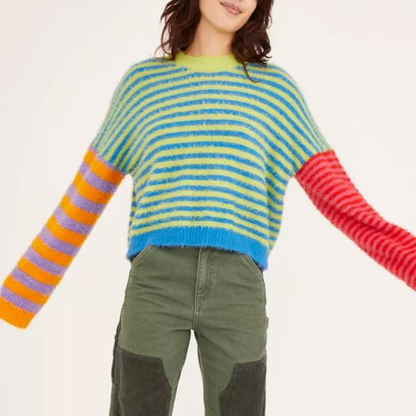 The Ragged Priest Fuzzy Mixed Stripe Sweater