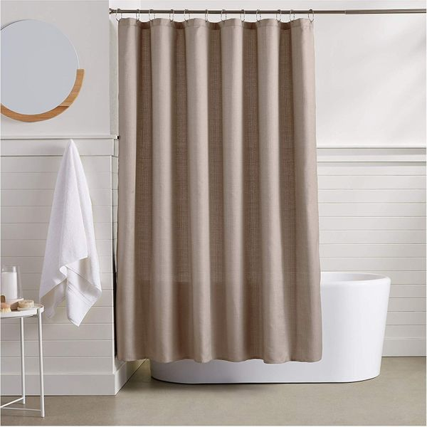 AmazonBasics Linen Style Shower Curtain - Taupe