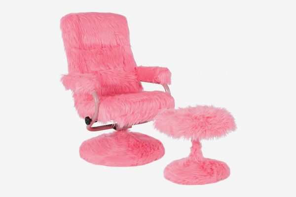 Flash Furniture Contemporary Faux Fur Swivel Recliner and Ottoman