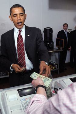 Does Obama only like receiving money when it's handed to him by a human?