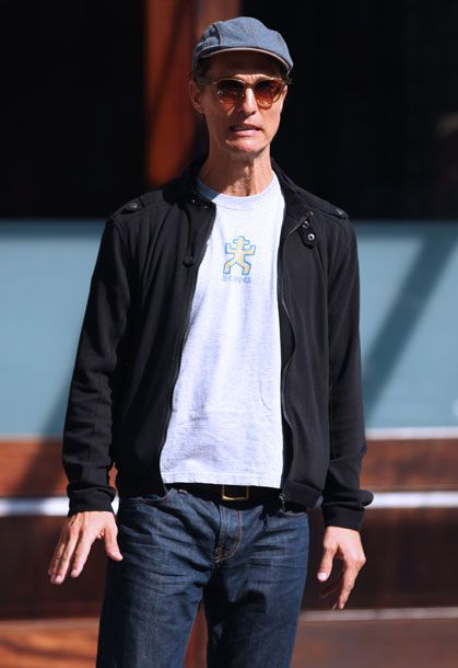Actor Matthew Mcconaughey, set to play HIV-infected electrician Ron Woodroof in 'The Dallas Buyer's Club', looking slim as he waits for a taxi outside the Greenwich Hotel in Tribeca in New York City.