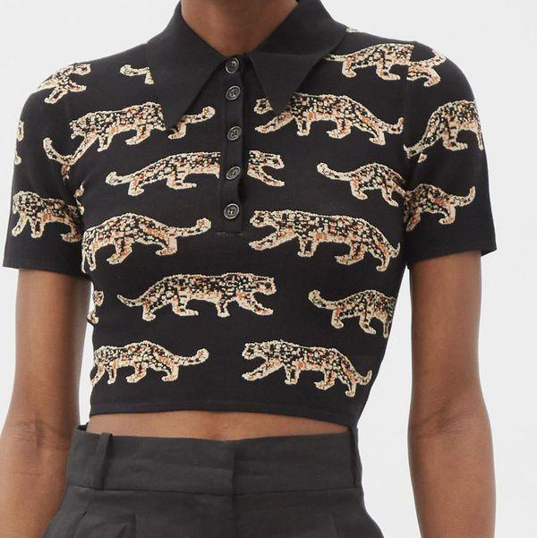 JoosTricot Leopard-Jacquard Polo Crop