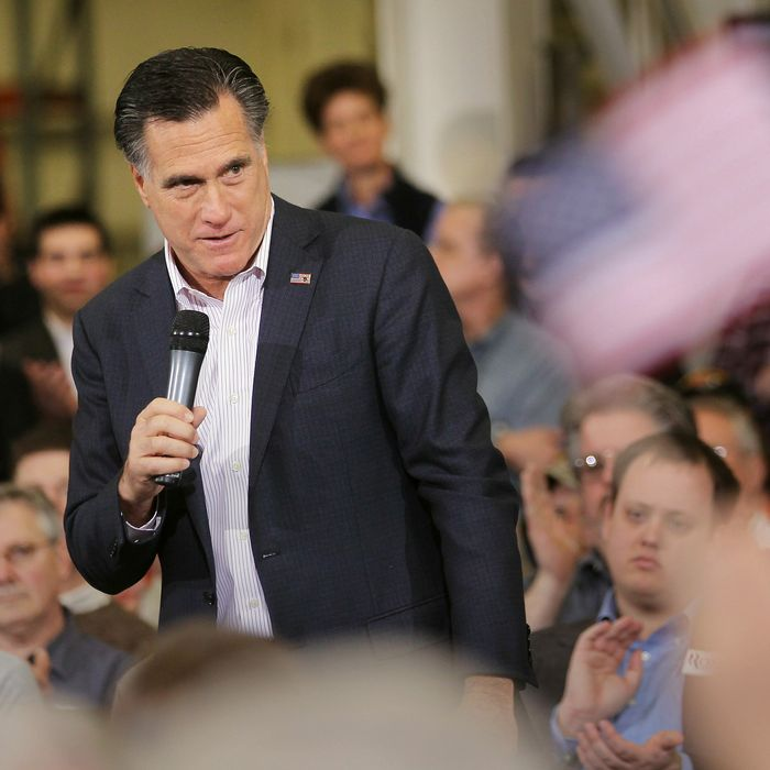 YOUNGSTOWN, OH - MARCH 05: Republican presidential candidate and former Massachusetts Gov. Mitt Romney speaks during a campaign rally at Taylor-Winfield Technologies on March 5, 2012 in Youngstown, Ohio. With one day to go before Super Tuesday, Mitt Romney is making one final push through Ohio. (Photo by Mario Tama/Getty Images)
