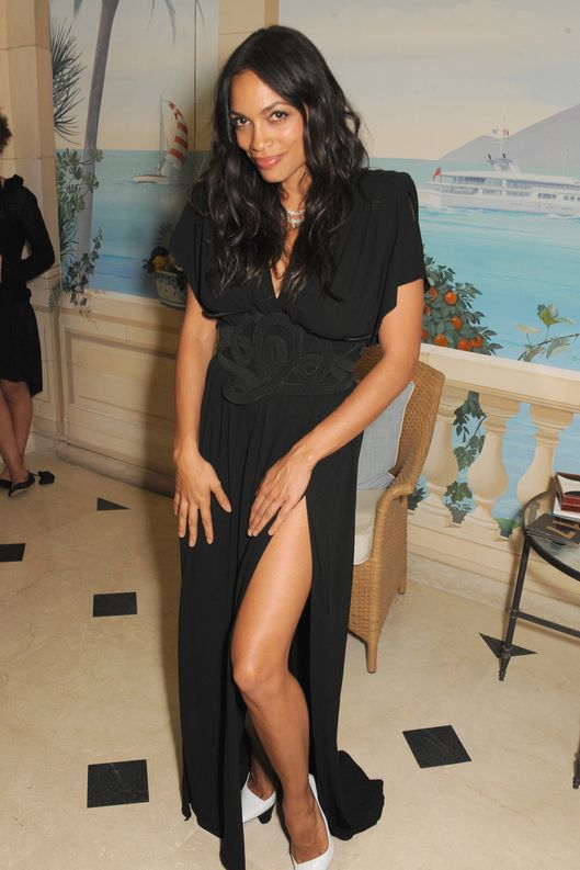 Actress Rosario Dawson attends 'Moncler, The After Party To Benefit amfAR' during The 66th Annual Cannes Film Festival at Hotel du Cap-Eden-Roc on May 23, 2013 in Cap d'Antibes, France.