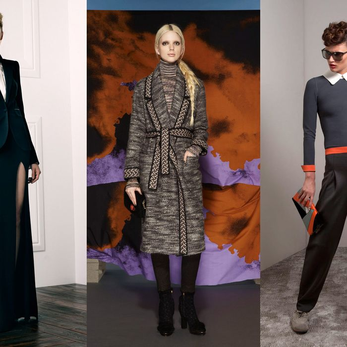 From left: new pre-fall looks from Rachel Zoe, Missoni, and Giorgio Armani.
