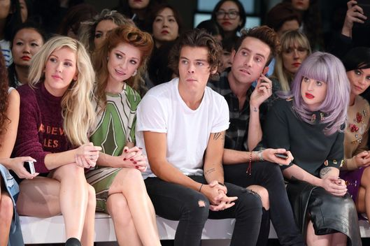 Ellie Goulding, Nicola Roberts, Harry Styles, Kelly Osbourne and Nick Grimshaw attend the House Of Holland show at London Fashion Week SS14 on September 14, 2013 in London, England.
