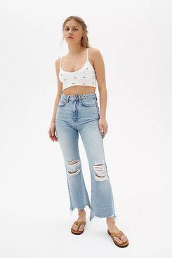 BDG Wilco Destroyed High-Waisted Cropped Flare Jean