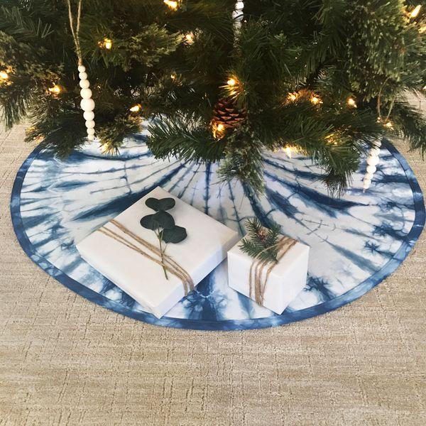 Sew Dope Design Indigo-Blue Shibori Ice Christmas-Tree Skirt