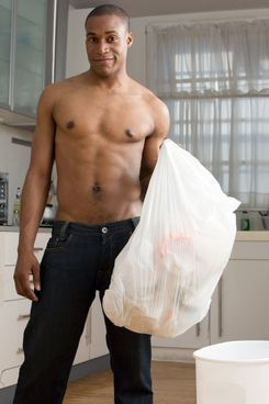 """Look I'm taking the trash out, shirtless, to distract you from the fact that I've never changed the sheets."""