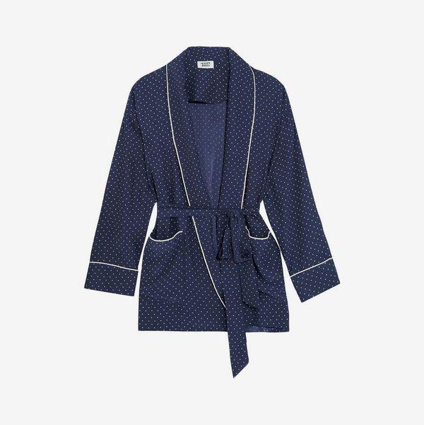 Printed Silk Robe - strategist best dark blue printed short robe