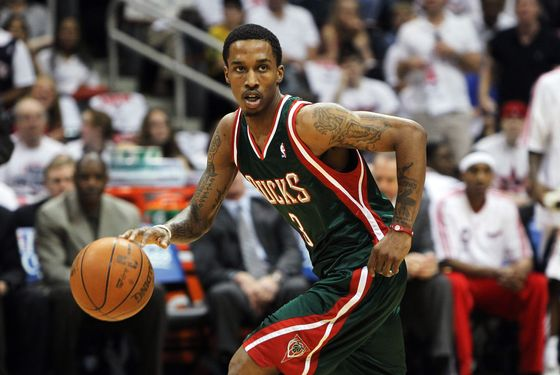 ATLANTA - MAY 2:  Guard Brandon Jennings #3 of the Milwaukee Bucks dribbles with the ball during Game Seven of the Eastern Conference Quarterfinals against the Atlanta Hawks during the 2010 NBA Playoffs at Philips Arena on May 2, 2010 in Atlanta, Georgia. The Hawks beat the Bucks 95-74.  NOTE TO USER: User expressly acknowledges and agrees that, by downloading and/or using this photograph, user is consenting to the terms and conditions of the Getty Images License Agreement.  (Photo by Mike Zarrilli/Getty Images) *** Local Caption *** Brandon Jennings