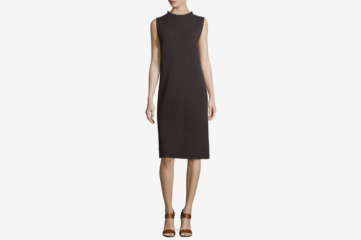 Eileen Fisher Sleeveless Funnel-Neck Wool Sheath Dress, Petite