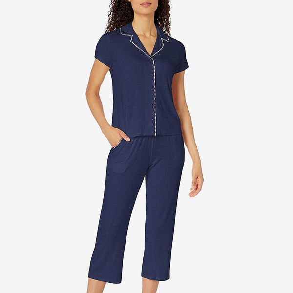 Mae Women's Notch Collar Pajama Set with Embroidered Trim