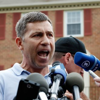 Ruslan Tsarni, the uncle of the Boston Marathon bombing suspect, speaks with the media outside his home in Montgomery Village in Md. Friday, April, 19, 2013. Tsarni urged his nephew to turn himself in.