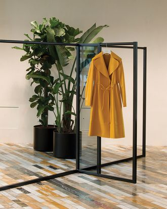 A coat from spring 2015 in the showroom.