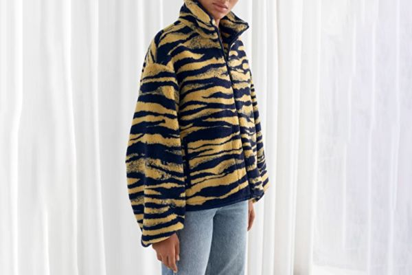 & Other Stories Tiger Print Utility Fleece Jacket