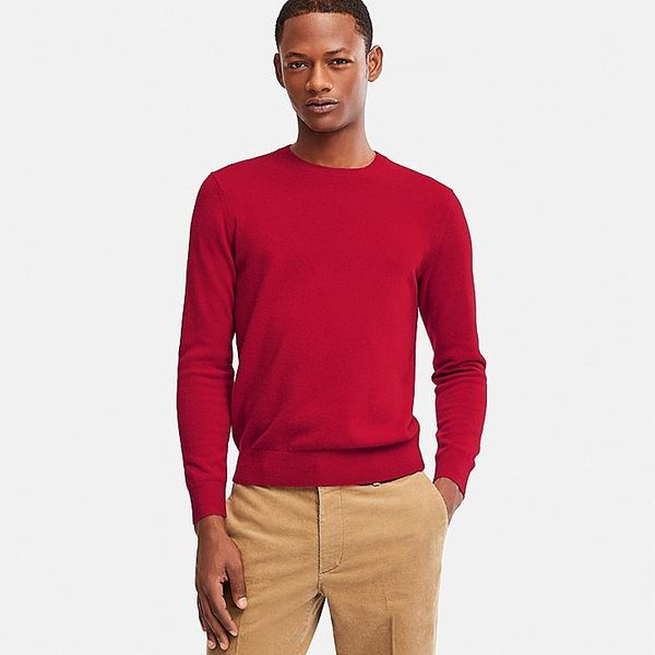 Men's Cashmere Crew Neck Long-Sleeve Sweater