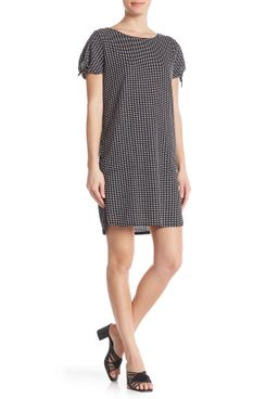 Max Studio Tie Sleeve Checkered Shift Dress