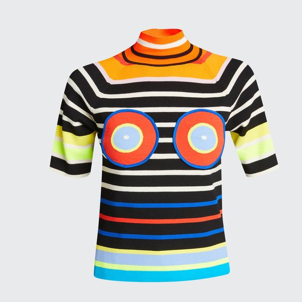 Christopher John Rogers Circles and Stripes Knit Mock-Neck Tee
