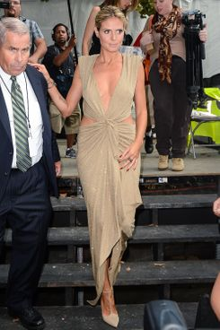 TV personality Heidi Klum leaves the Mercedes-Benz Fashion Week at The Theatre at Lincoln Center on September 7, 2012 in New York City.