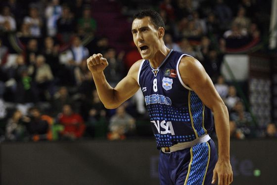 Pablo Prigioni of Argentina, celebrates a point agaisnt Canada, during their 2011 FIBA Americas Championship qualifying round game, on September 5, 2011, at Islas Malvinas Stadium, Mar del Plata, Buenos Aires, Argentina. AFP PHOTO / Maxi FAILLA (Photo credit should read Maxi Failla/AFP/Getty Images)
