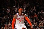 Carmelo Anthony# of the New York Knicks celebrates against the Boston Celtics.
