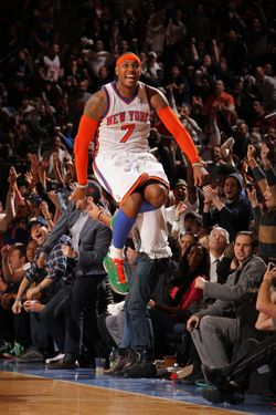 NEW YORK, NY - DECEMBER 25: Carmelo Anthony# of the New York Knicks celebrates against the Boston Celtics during the game on December 25, 2011 at Madison Square Garden in New York City.  NOTE TO USER: User expressly acknowledges and agrees that, by downloading and or using this photograph, User is consenting to the terms and conditions of the Getty Images License Agreement. Mandatory Copyright Notice: Copyright 2011 NBAE  (Photo by Nathaniel S. Butler/NBAE via Getty Images)