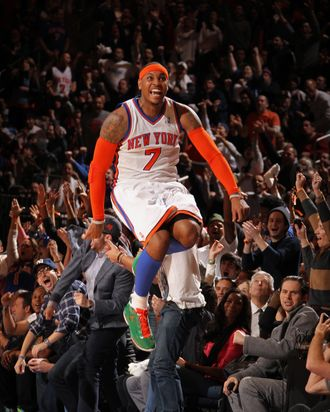 Carmelo Anthony# of the New York Knicks celebrates against the Boston Celtics.