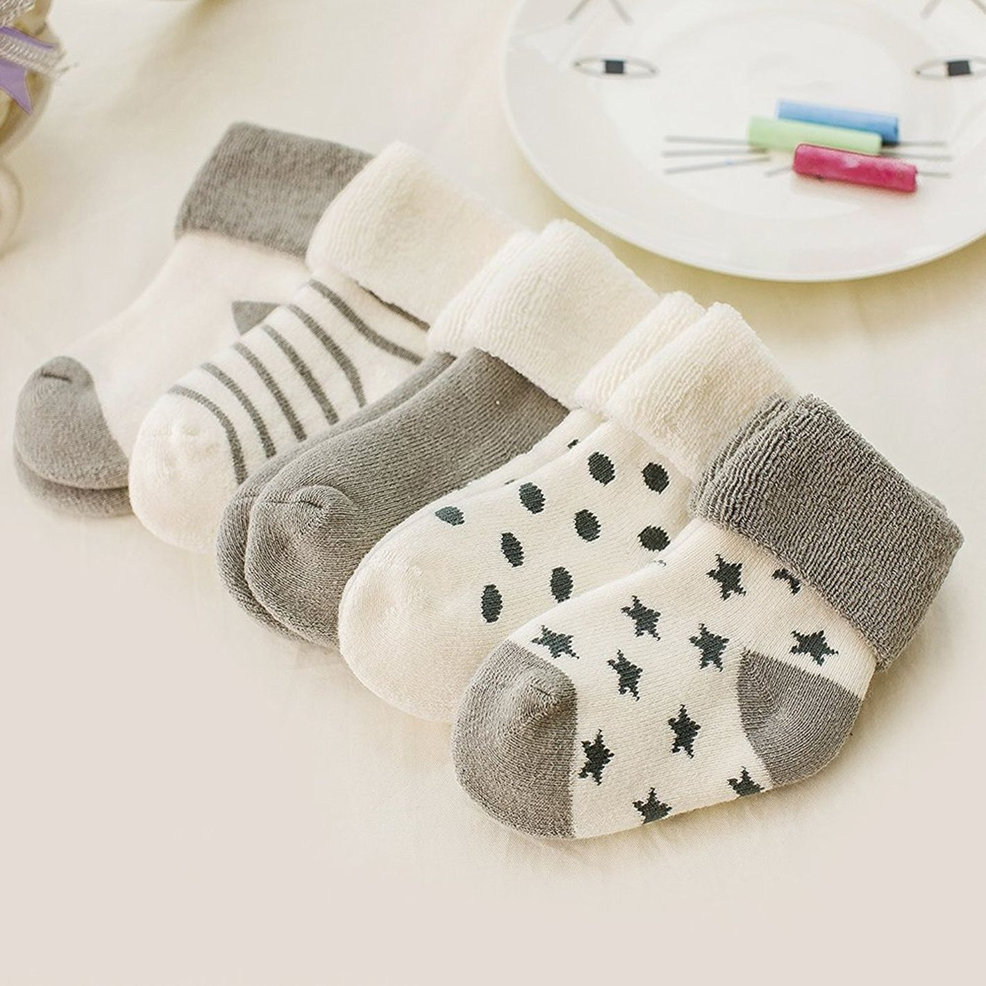 VWU Baby Thick Cuff Cotton Socks 5-Pack