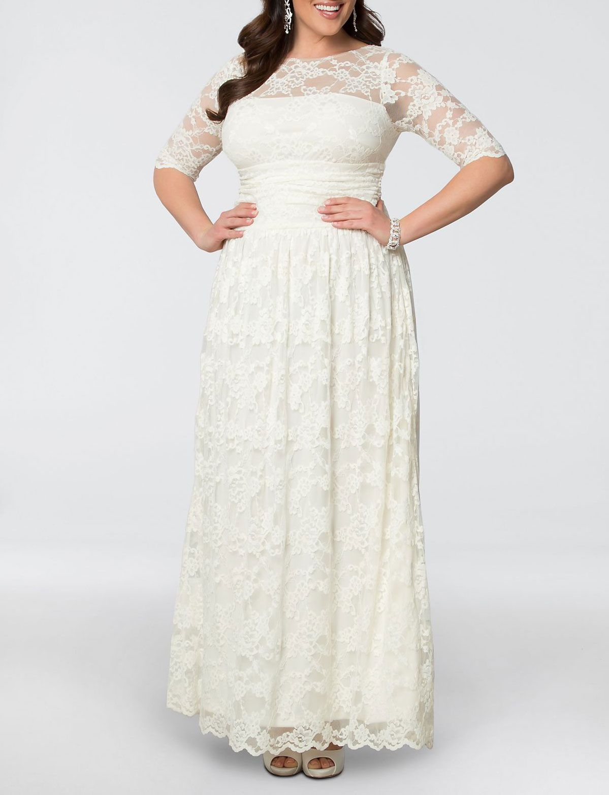 Kiyonna Lace Illusion Plus Size Wedding Gown