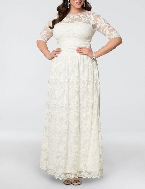 Kiyonna Lace Illusion Plus Size Wedding Gown