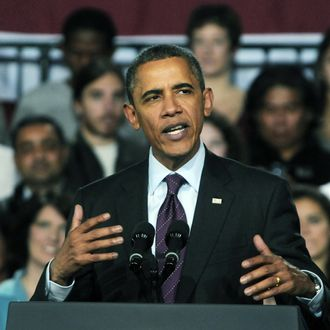 MANCHESTER, NH - NOVEMBER 22: U.S. President Barack Obama speaks at Manchester Central High School November 22, 201 in Manchester, New Hampshire. Obama spoke about job creation and prevneting a payroll tax hike at the end of th year. (Photo by Darren McCollester/Getty Images)