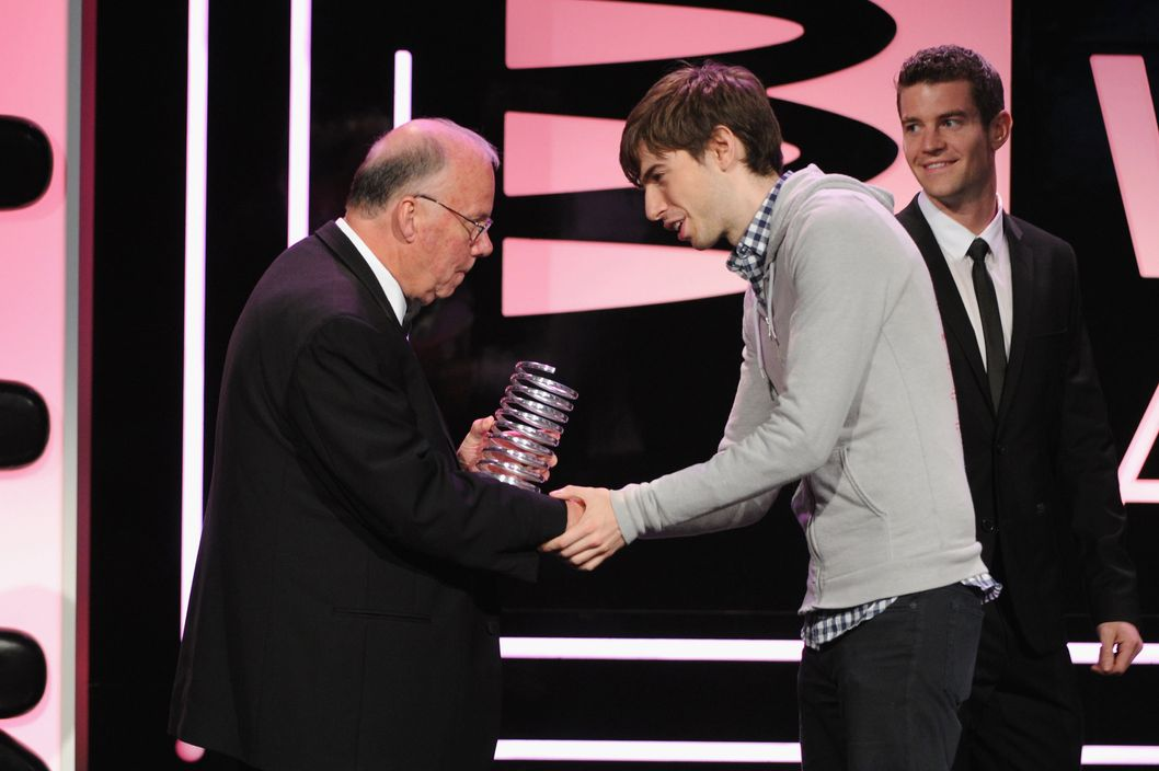 Steve Wilhite and David Karp speak onstage at the 17th Annual Webby Awards at Cipriani Wall Street on May 21, 2013 in New York City.