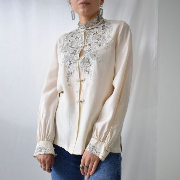 Pure Silk Hand Embroidered Vintage Chinoise Shirt