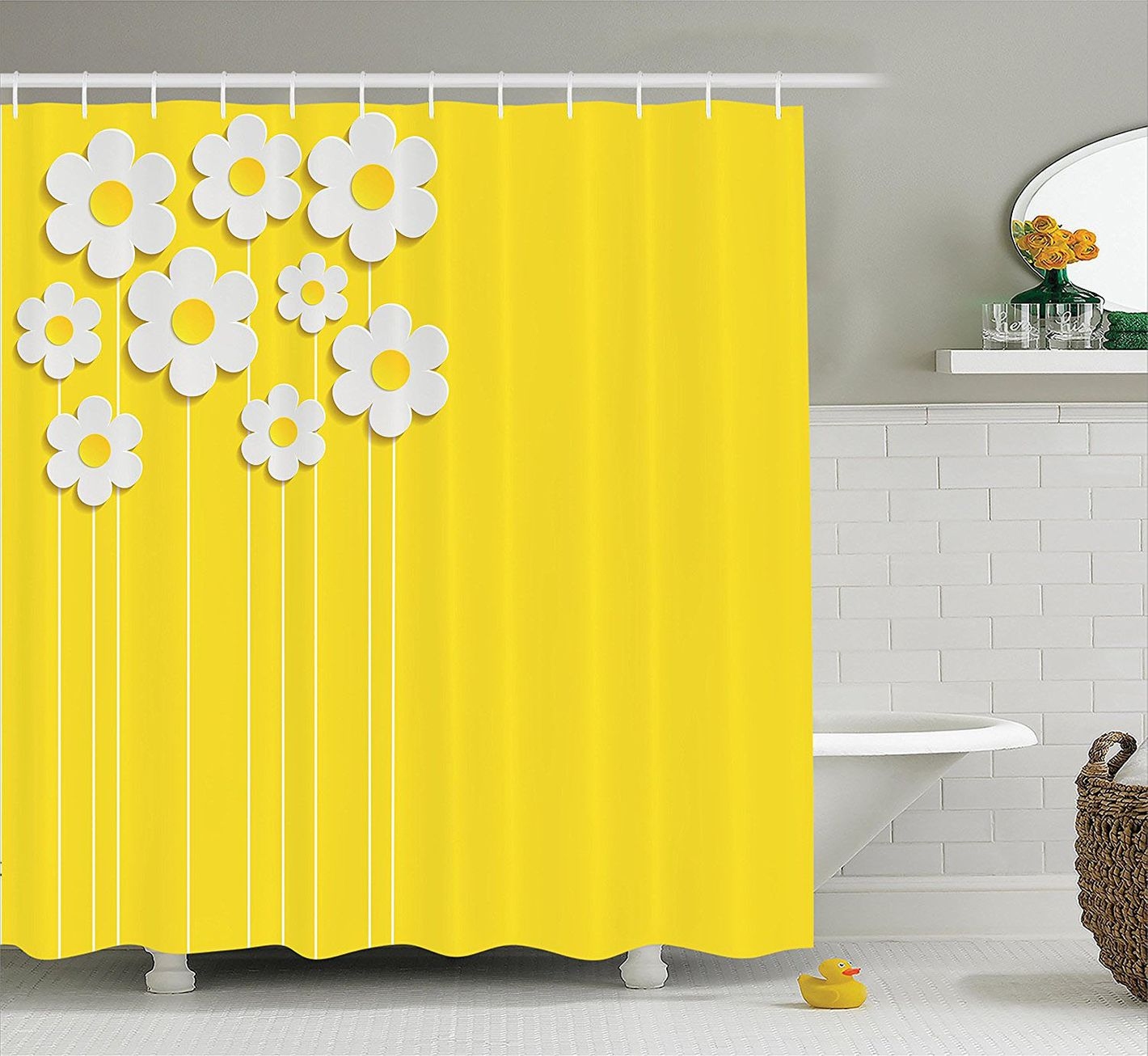 Ambesonne Yellow Decor Shower Curtain